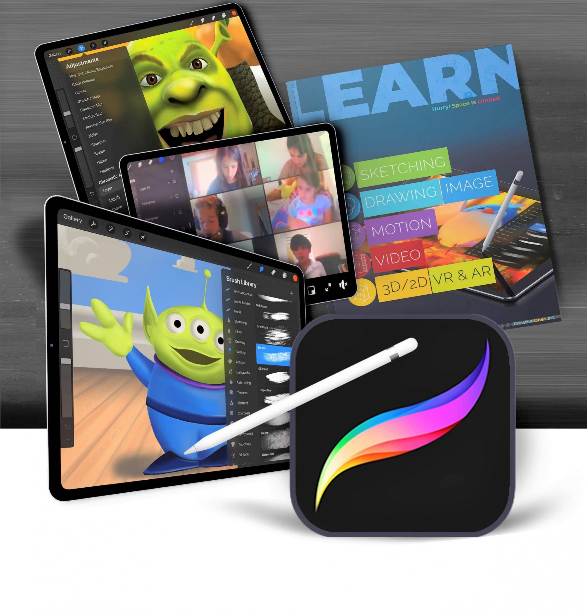 kids k-12 Learning Digital Art using Procreate.